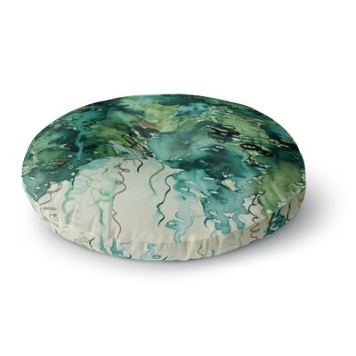 Ebi Emporium Beauty in the Rain Round Floor Pillow Size: 23 x 23, Color: Emerald/Green