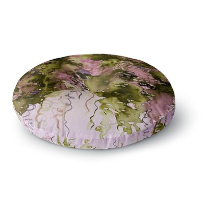 Ebi Emporium Beauty in the Rain Round Floor Pillow Size: 23 x 23, Color: Green/Lavender