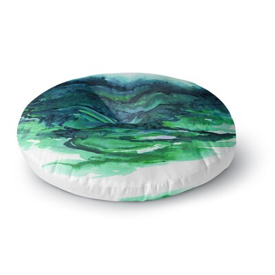 Ebi Emporium the Long Road 1 Watercolor Round Floor Pillow Size: 23 x 23, Color: Teal/Green