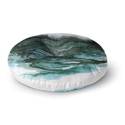 Ebi Emporium the Long Road 1 Watercolor Round Floor Pillow Size: 23 x 23, Color: Teal/Black