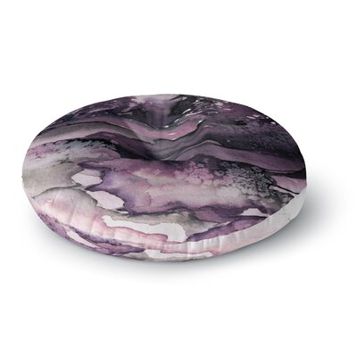 Ebi Emporium Never Leave the Path 6 Watercolor Round Floor Pillow Size: 26 x 26, Color: Purple/Black