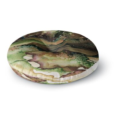 Ebi Emporium Never Leave the Path 6 Watercolor Round Floor Pillow Size: 23 x 23, Color: Brown/Olive