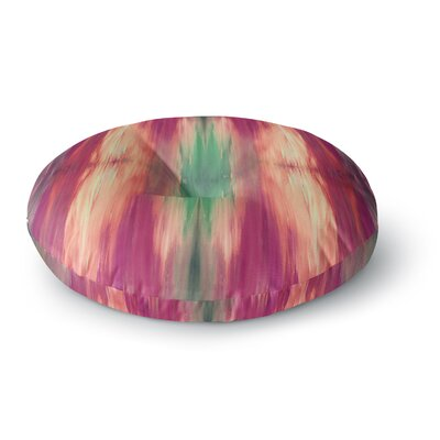 Ebi Emporium Butterfly Tribal 4 Painting Round Floor Pillow Size: 23 x 23, Color: Magenta/Green
