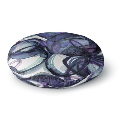 Ebi Emporium the Final Eclipse Painting Round Floor Pillow Size: 23 x 23, Color: Purple/Blue