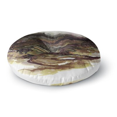 Ebi Emporium the Long Road 1 Watercolor Round Floor Pillow Size: 23 x 23, Color: Maroon/Olive