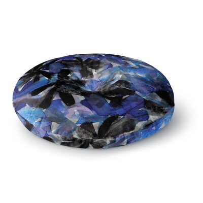 Ebi Emporium Snowy Stars 5 Painting Round Floor Pillow Size: 23 x 23, Color: Navy/Black