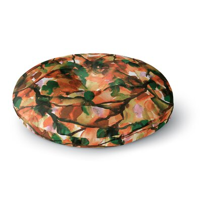 Ebi Emporium by Any Other Name 5 Watercolor Round Floor Pillow Size: 26 x 26, Color: Orange/Green