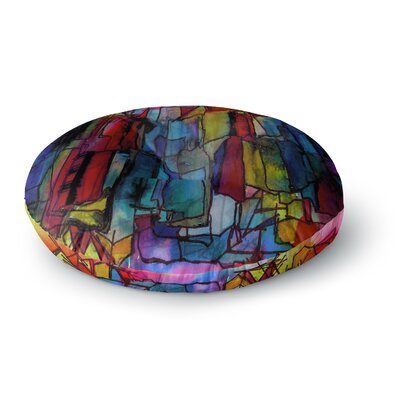 Ebi Emporium Facets of the Self 4 Mixed Media Round Floor Pillow Size: 26 x 26
