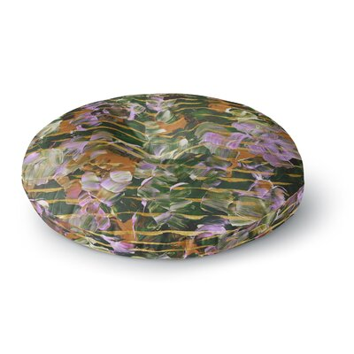 Ebi Emporium Dust Garden Mixed Media Round Floor Pillow Size: 23 x 23, Color: Gold/Green