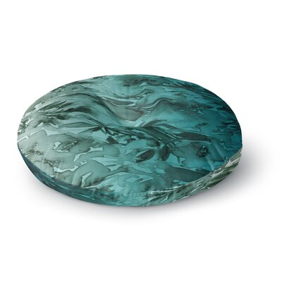 Ebi Emporium Forever Flowers Ombre Watercolor Round Floor Pillow Size: 23 x 23, Color: Teal/Gray