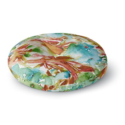 Ebi Emporium Floral Destiny 8 Watercolor Round Floor Pillow Size: 26 x 26, Color: Orange/Teal