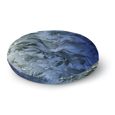 Ebi Emporium Forever Flowers Ombre Watercolor Round Floor Pillow Size: 23 x 23, Color: Blue/Gray