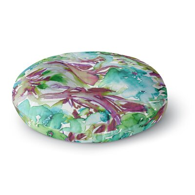 Ebi Emporium Floral Destiny 8 Watercolor Round Floor Pillow Size: 26 x 26, Color: Teal