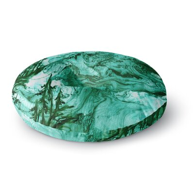 Ebi Emporium Anything Worth Having Mixed Media Round Floor Pillow Size: 26 x 26, Color: Green/Blue
