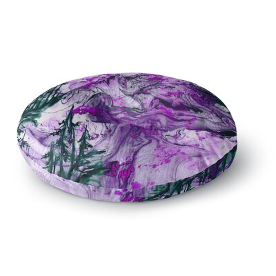 Ebi Emporium Anything Worth Having Mixed Media Round Floor Pillow Size: 26 x 26, Color: Purple/Green