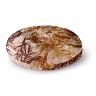 Ebi Emporium Anything Worth Having Mixed Media Round Floor Pillow Size: 23 x 23, Color: Orange/Brown