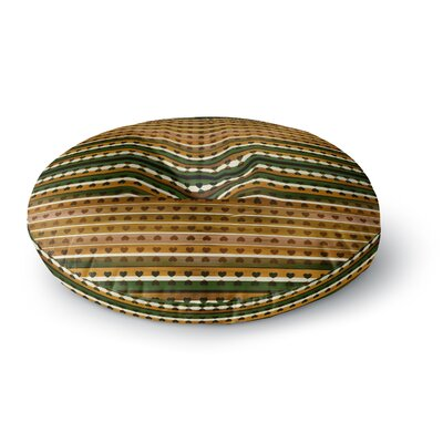 Ebi Emporium Hearts Together Mixed Media Round Floor Pillow Size: 26 x 26, Color: Gold/Green