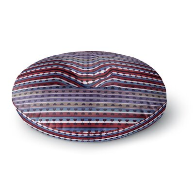 Ebi Emporium Hearts Together Mixed Media Round Floor Pillow Size: 26 x 26, Color: Red/Blue