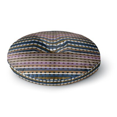 Ebi Emporium Hearts Together Mixed Media Round Floor Pillow Size: 23 x 23, Color: Pink/Blue