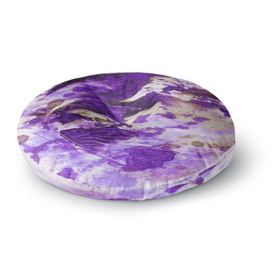 Ebi Emporium Color Blots 6 Painting Round Floor Pillow Size: 26 x 26, Color: Purple/White