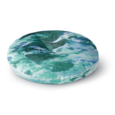 Ebi Emporium Color Blots 6 Painting Round Floor Pillow Size: 23 x 23, Color: Green/Blue