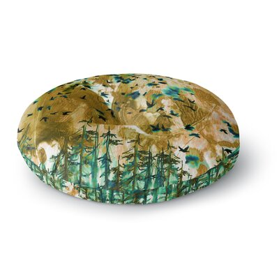 Ebi Emporium Were Better Together Mixed Media Round Floor Pillow Size: 26 x 26, Color: Tan/Teal