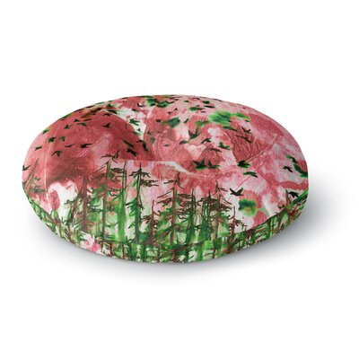Ebi Emporium Were Better Together Mixed Media Round Floor Pillow Size: 23 x 23, Color: Pink/Green