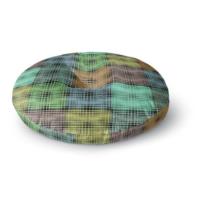 Ebi Emporium the Patchwork Tar 3 Mixed Media Round Floor Pillow Size: 26 x 26, Color: Teal/Green