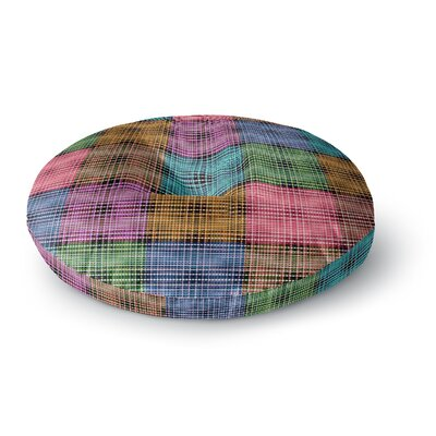 Ebi Emporium the Patchwork Tar 3 Mixed Media Round Floor Pillow Size: 26 x 26, Color: Teal/Pink