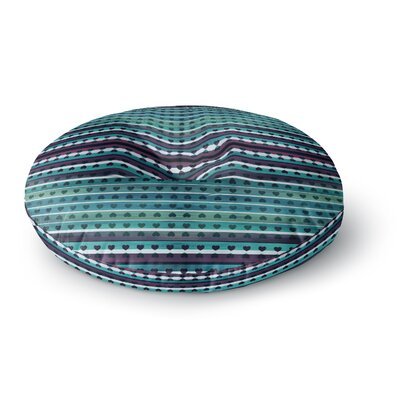 Ebi Emporium Hearts Together Mixed Media Round Floor Pillow Size: 26 x 26, Color: Teal/Purple