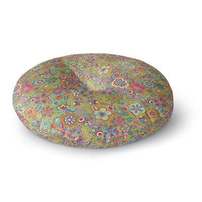 Julia Grifol My Butterflies & Flowers Round Floor Pillow Size: 23 x 23, Color: Green