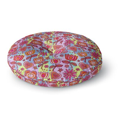 Julia Grifol My Folk Flowers Round Floor Pillow Size: 26 x 26