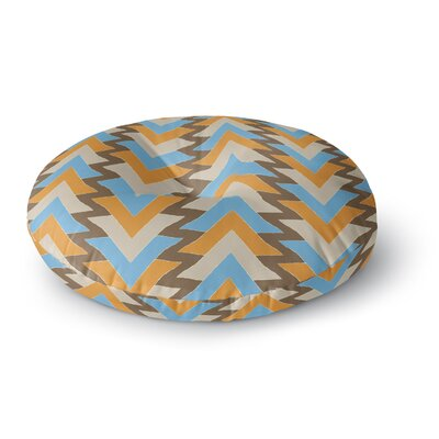 Julia Grifol My Triangles Round Floor Pillow Size: 26 x 26, Color: Blue/Aqua/Orange