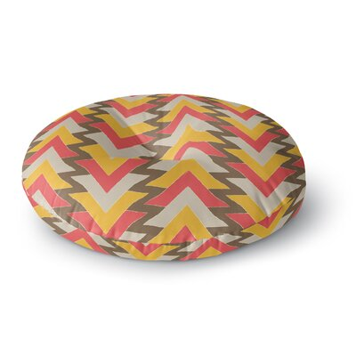Julia Grifol My Triangles Round Floor Pillow Size: 23 x 23, Color: Red/Orange/Brown