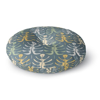 Julia Grifol My Leaves Round Floor Pillow Size: 23 x 23, Color: Blue