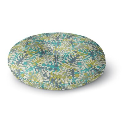 Julia Grifol Tropical Leaves Round Floor Pillow Size: 26 x 26, Color: Blue