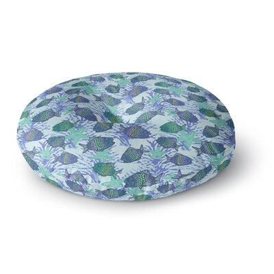 Julia Grifol My Colorful Fishes Teal Round Floor Pillow Size: 26 x 26