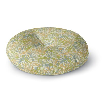 Julia Grifol Tropical Leaves Round Floor Pillow Size: 23 x 23, Color: Green