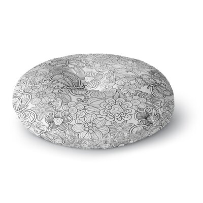 Julia Grifol My Butterflies and Flowers Round Floor Pillow Size: 26 x 26
