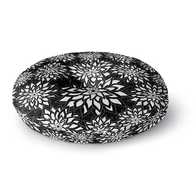 Julia Grifol Garden Aqua Round Floor Pillow Size: 26 x 26, Color: Black