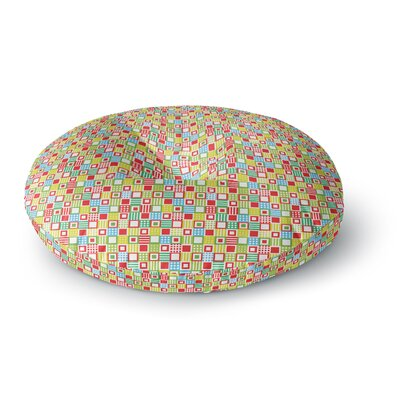 Julie Hamilton Colorful Check Checkered Round Floor Pillow Size: 23 x 23