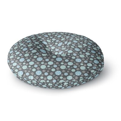 Julie Hamilton Midnight Snow Winter Round Floor Pillow Size: 26 x 26, Color: Gray