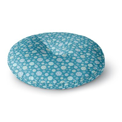Julie Hamilton Midnight Snow Winter Round Floor Pillow Size: 26 x 26, Color: Blue