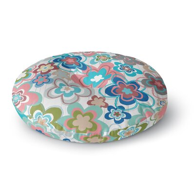 Jolene Heckman a Marsala Morning Round Floor Pillow Size: 26 x 26, Color: Blue/Pink