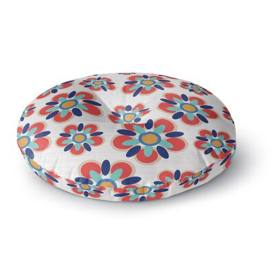 Jolene Heckman Folksy Round Floor Pillow Size: 23 x 23, Color: Red