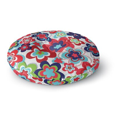 Jolene Heckman a Marsala Morning Round Floor Pillow Size: 26 x 26, Color: Blue/Red