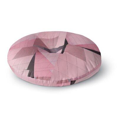 Tiny September Flamingo Digital Round Floor Pillow Size: 26 x 26, Color: Pink/Black