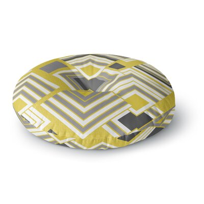 Jacqueline Milton Luca Coffee Round Floor Pillow Size: 26 x 26, Color: Yellow/Gray