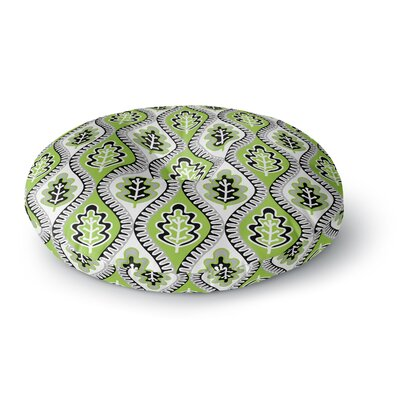 Jacqueline Milton Oak Leaf Floral Round Floor Pillow Size: 26 x 26, Color: Green