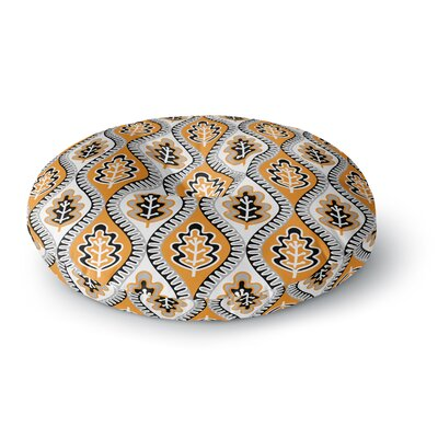 Jacqueline Milton Oak Leaf Floral Round Floor Pillow Size: 23 x 23, Color: Orange